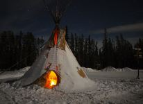 Camp-Fire inside the Tipi at the AuroraCentre